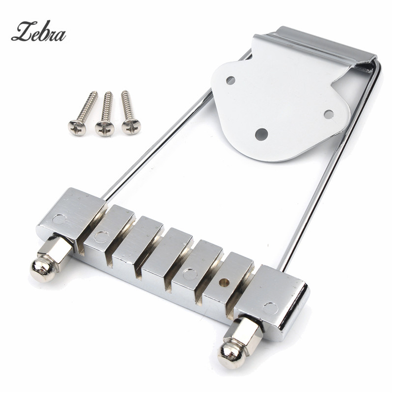 Zebra 1Pcs Chrome 6 String Guitar Accessories Guitar Chrome Tailpiece Trapeze Open Frame Bridge For Musical Instruments Parts