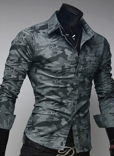 2014 New Men's Shirt Camouflage Army Uniform Style Fashion Slim Long Sleeve