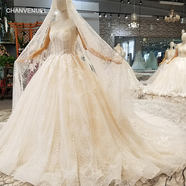 LS049770 wedding dress with long veil O neck sleeveless ball gown lace  light champagne bridal dress 2018 vestido de noiva 6364cc0134a5