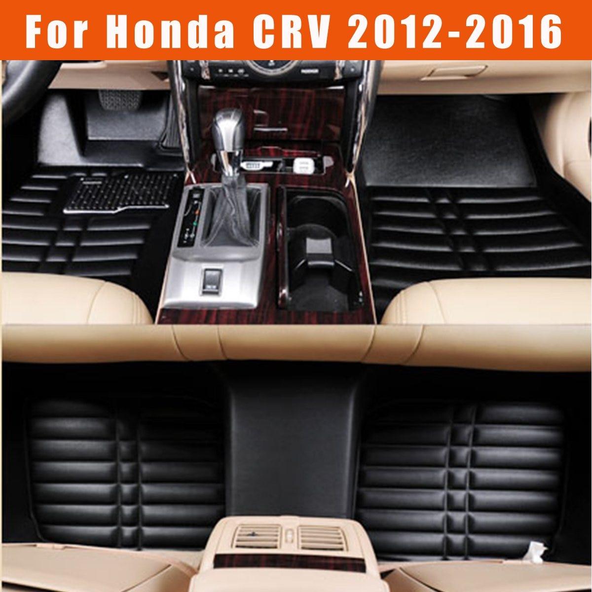 Tapis de sol de voiture avant et arrière tapis de revêtement en cuir PU pour Honda CRV 2012-2016 ajustement siège conducteur et passager