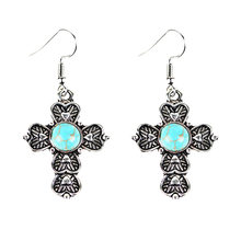 1Pair New Arrival Mixed Stone Pink Crystal,Purple Crystal Sandstone Cross Earrings Jewelry Cross earrings Gifts(China)