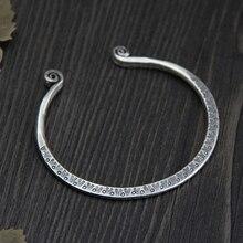 Fyla Mode S999 Sterling Silver Bracelets Monkey Straitjacket Hand Carved Bangles Opening Adjustable Design Fine Jewelry 4mm
