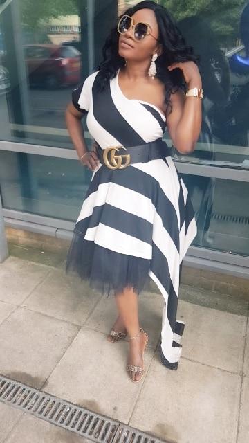 VAZN New Arrive Best Quality 2018 Style Women Dress Striped One Shoulder Half Sleeve Women Asymmetrical Maxi Dress Vestido L0183