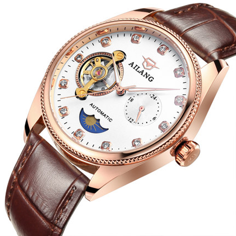 Men Automatic Mechanical Watch with leather Watchband Fashion 2017 of the top selling Luxury Business retro Big Dial Stainless S цена и фото