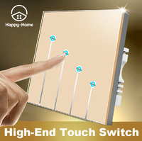 Free Shipping Gold Tempred Glass Switch Panel 4 Gangs 1 Way Wallpad UK Standard Touch Switch