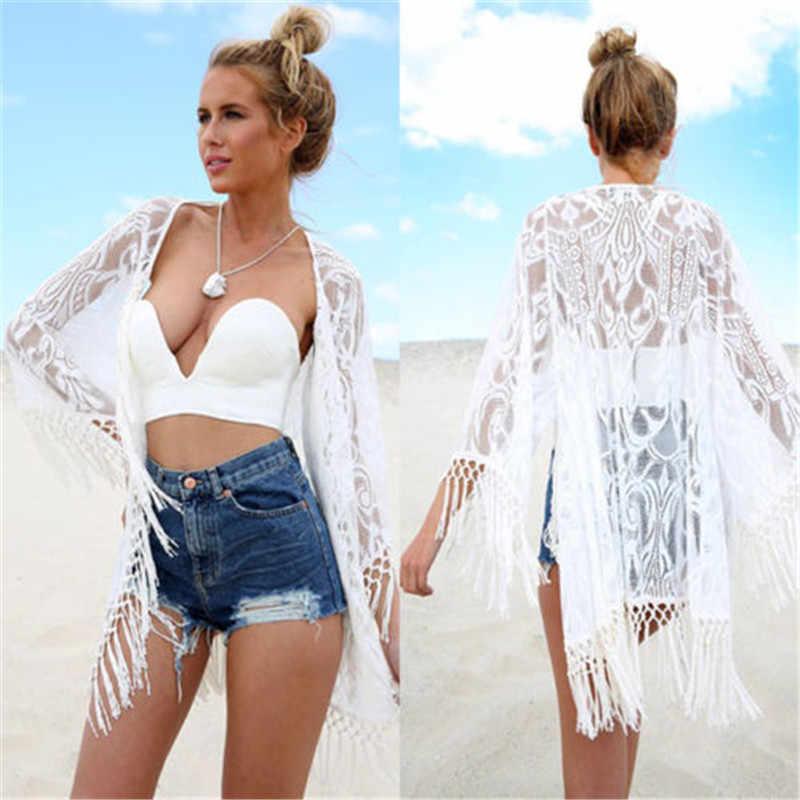 2016 Bianco Sexy Delle Donne Del Merletto Del Crochet Della Nappa del Bikini Costumi Da Bagno Cover Up Donna Spiaggia del Vestito Costume Da Bagno Spiaggia Costumi Da Bagno cover up