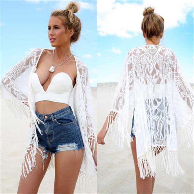 2016 White Sexy Women Lace Crochet Tassel Bikini Swimwear Cover Up Woman Beach Dress Bathing Suit Beach Swimwear Cover Up