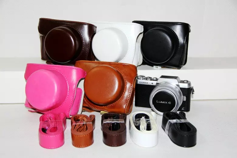 PU Leather Camera Bag For Panasonic LUMIX GF7 GF8 GF9 gf7 gf8 gf9 Micro Single Case Cover ...