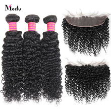 Meetu Brazilian Curly Hair Bundles With Closure 3 Bundles With Frontal Non Remy 13X4 Lace Frontal With Bundles 100% Human Hair