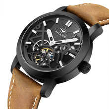 Real men's AILANG brand car wind waterproof leather strap auto tourbillon hollow mechanical watch black dial male fashion