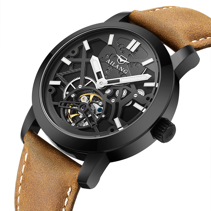 Real men's AILANG brand car wind waterproof leather strap auto tourbillon hollow mechanical watch black dial male fashion kinyued brand men self wind waterproof stainless steel strap automatic mechanical male black dial fashion tourbillon watch