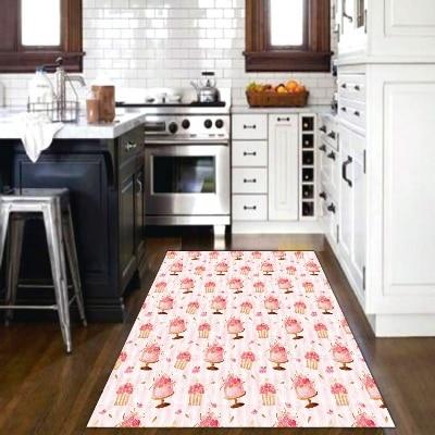 Else Pink Cube Cakes Macaroni Sweet Candy 3d Print Non Slip Microfiber Kitchen Modern Decorative Washable Area Rug Mat