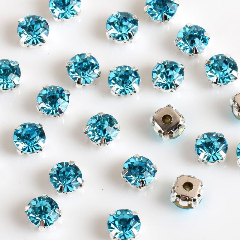 SS16-SS38 Different Size Silver Base Aquamarine Crystal Sew On Rhinestones, Flatback Claw Rhinestones For DIY Garment
