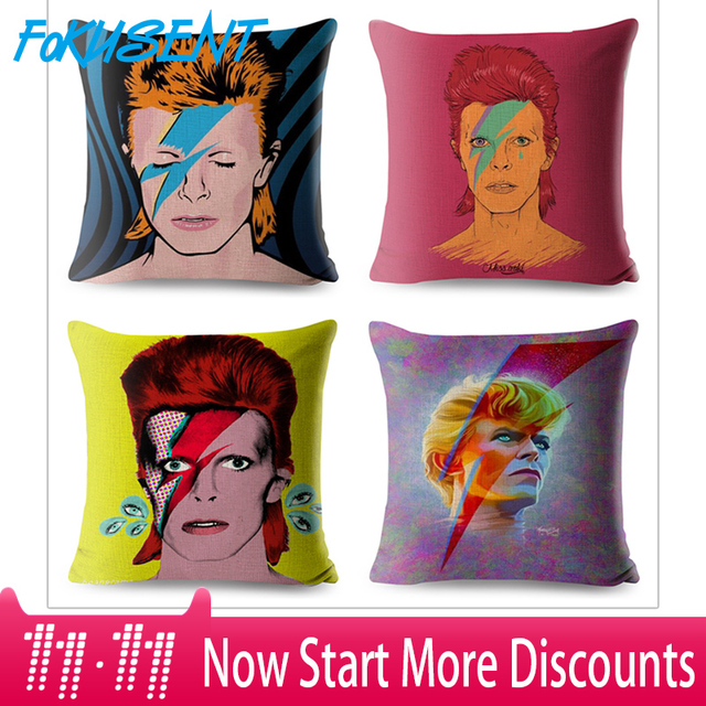 FOKUSENT David Bowie Fodere per Cuscini s Euroeapn Americano Rock POP Stile Fode