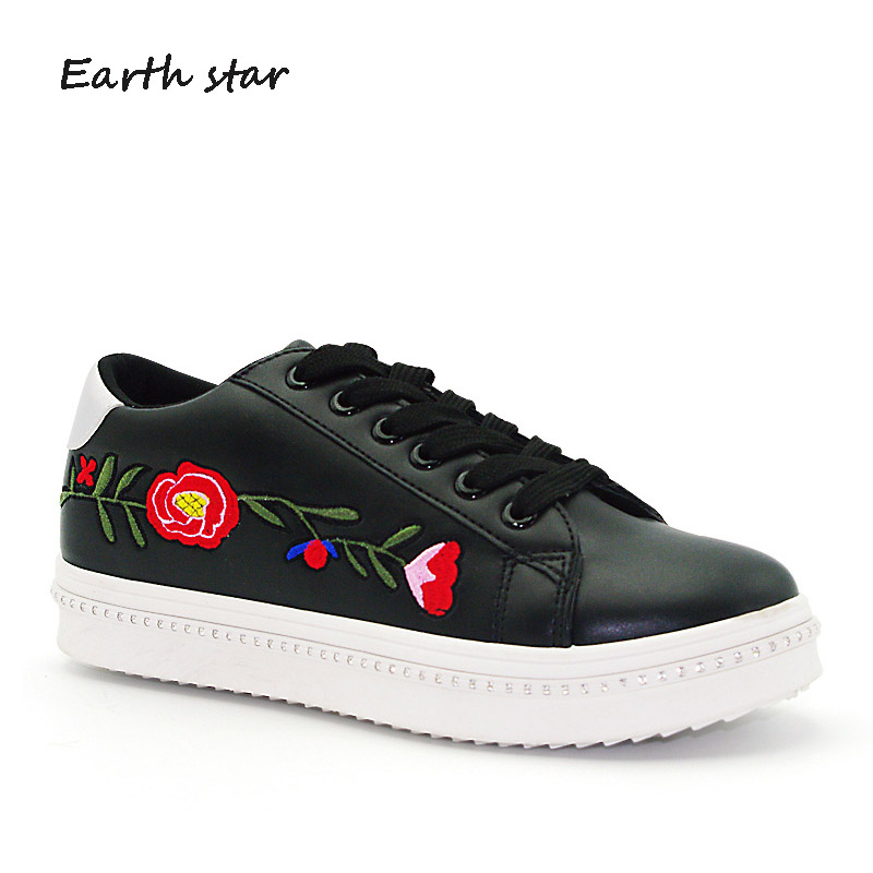 ... Autumn tied Casual footware Fashion Girl Women Lady Cross Embroidered  Sneaker Flower Leisure Shoes Brand STAR ... 9ed0b6723d23