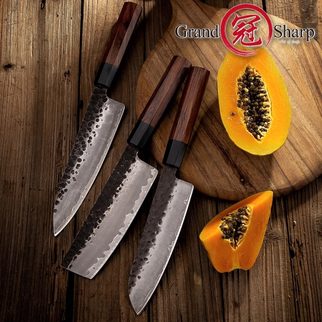Handmade Kitchen Knives Set 3pcs 3 Layers Japanese AUS-10 Steel Chef Santoku Nakiri Knife ECO Friendly Cooking Tools Grandsharp