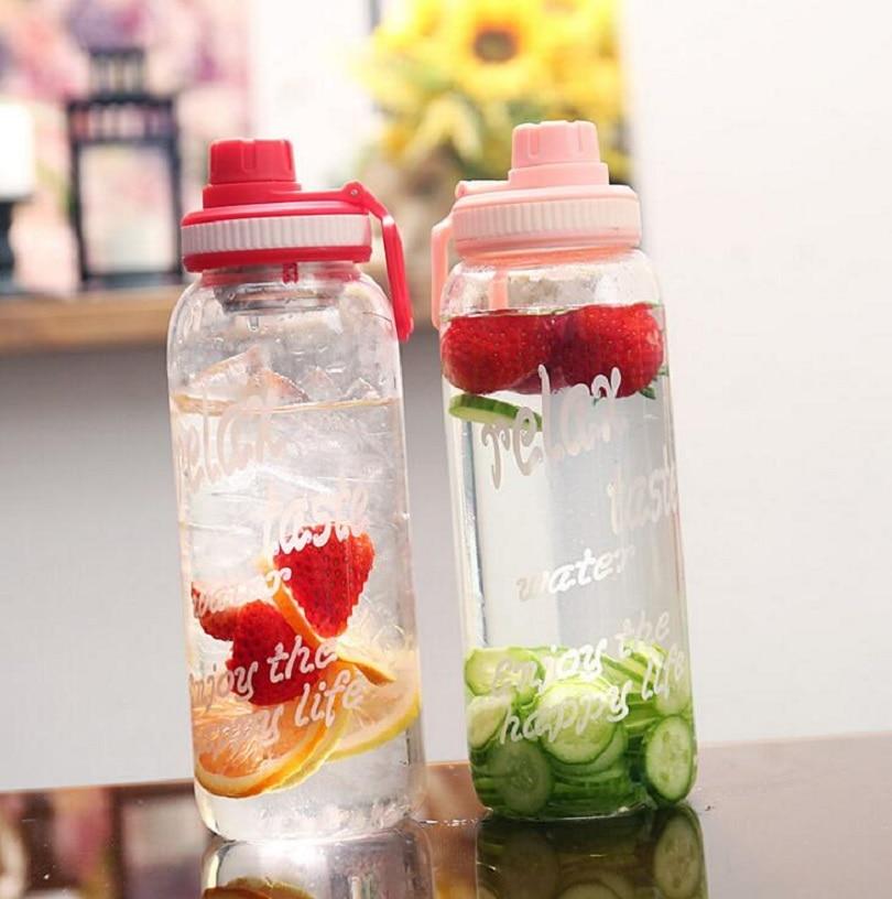 TECHOME 1000ml High Capacity Glass Water Bottle Outdoor Portable Fruit Tea Lemon Drink Bottle|Water Bottles|   - AliExpress