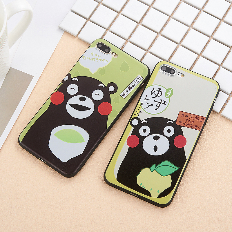 Kumamon For iphone 6 6plus 6s plus 7 7plus 8 X Simple fashion case bear 3D Relief Couple silicone soft phone cover coque cases