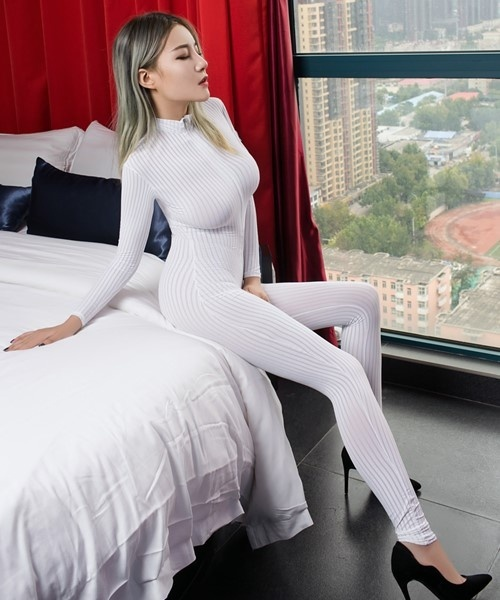 Dame Black Striped Sheer Bodysuit Smooth Fiber 2 Zipper Long Sleeve Jumpsuit 1
