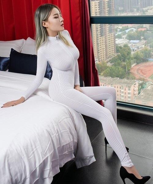Bodys Learned Dame Striped Sheer Bodysuit Smooth Fiber 2 Zipper Long Sleeve Costume Jumpsuit Damenmode