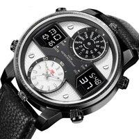 Новинка 2019 года для мужчин s часы лучший бренд класса люкс кварцевые часы для мужчин календари кожа Военная Униформа водонепроница