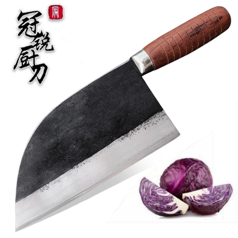 Handmade Forged Chef Knife Carbon Steel Forged Traditional Chinese Cleaver Kitchen Knives Meat Vegetables Slicing Chopping