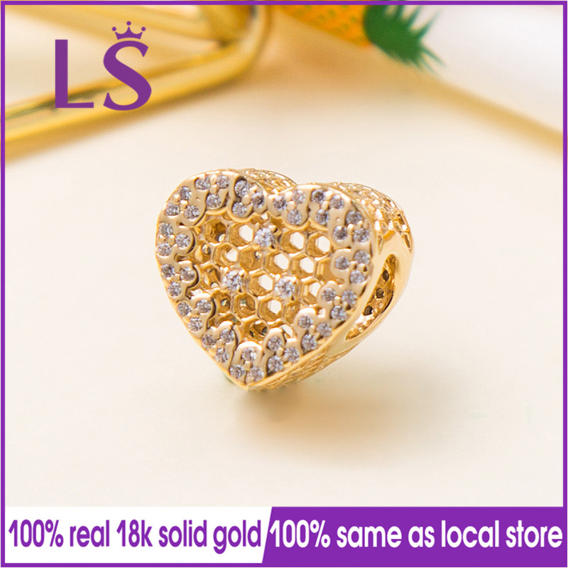 LS 2018 New Spring 100 Real Gold Honeycomb Lace Charm Fit Original Bracelets Pulseira Encantos Beads