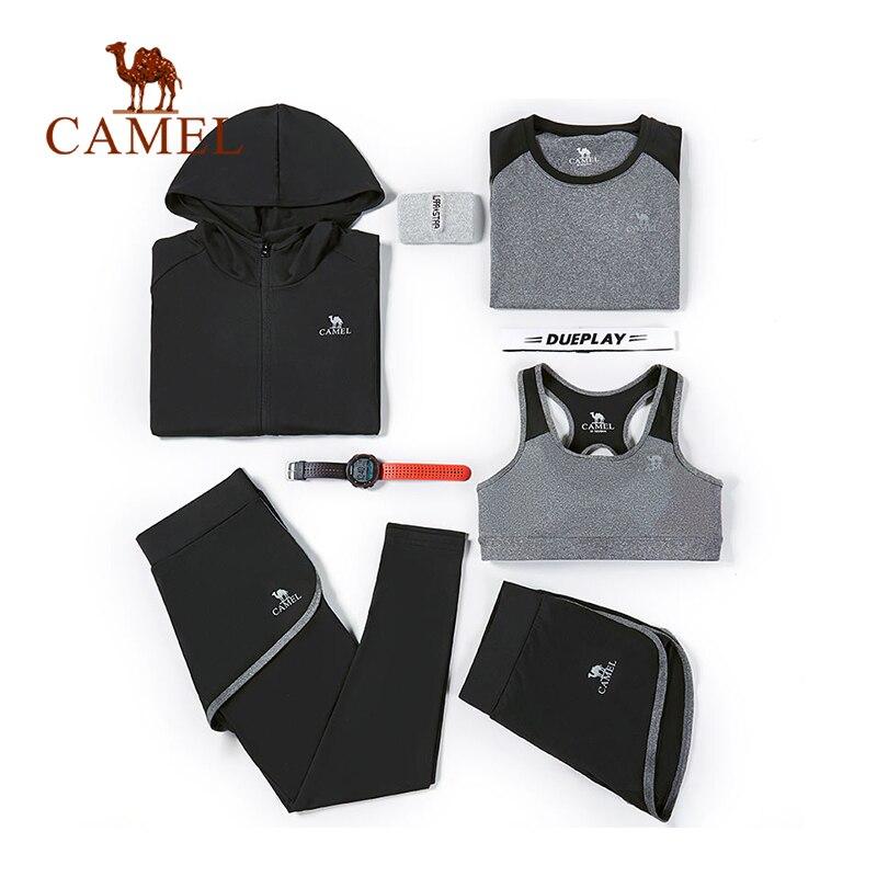 Chameau femmes sport chemises course soutien-gorge gilet costume ensemble Yoga pantalon Fitness Legging entraînement serré Gym manteau Midriff respirant