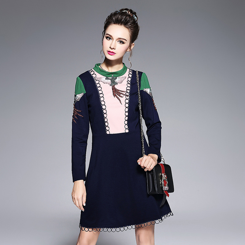 Runway Dresses 2018 Women's High Quality Bird Embroidery Pearls Beaded Long Sleeve Vintage Dress 4XL 5XL Plus Size Clothing