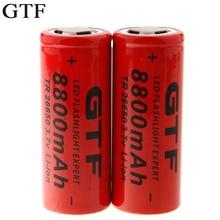 GTF 1PCS 26650 lithium battery 8800mah power light 3.7 rechargeable lithium battery for flashlight Torch power Bank