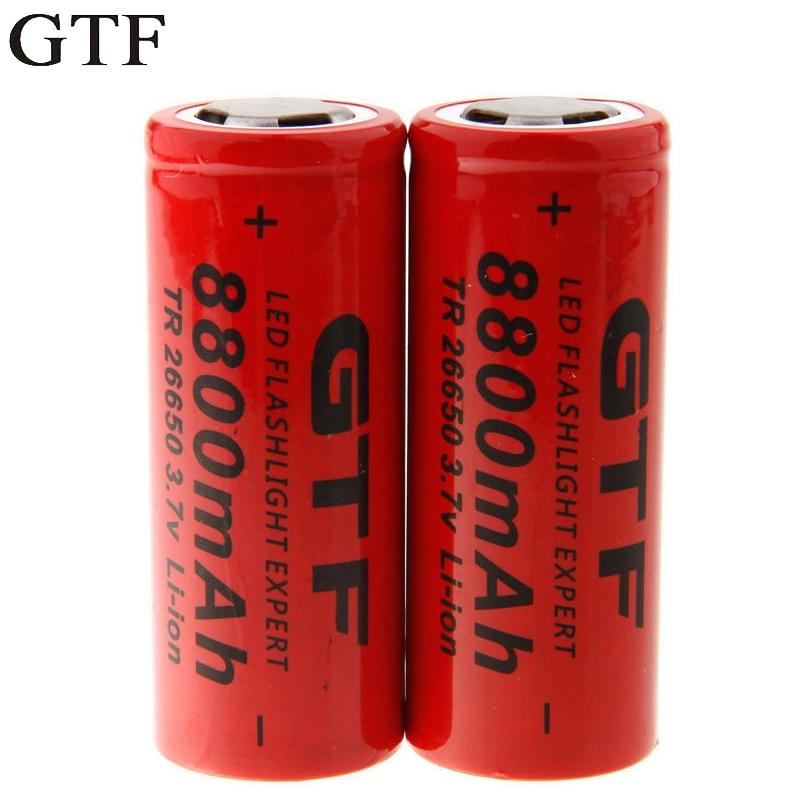 Литиевая батарея GTF 3,7 в 26650, 8800 мАч, светильник в, перезаряжаемая литий-ионная батарея для фонарика, фонарика, внешнего аккумулятора