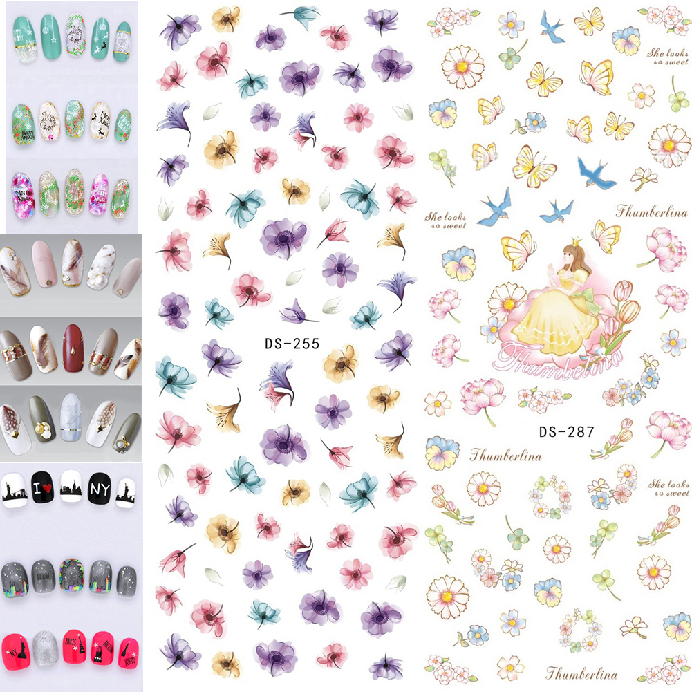 Nail Stickers Water Decals Flowers Feathers Butterflies Letters Pattern DIY For Beauty Nai flowers butterflies pattern waterproof shower curtain