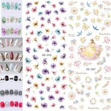 Ногтей Наклейки водные наклейки цветы перья бабочки буквы шаблон DIY для Красота nai