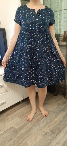 Tops New Arrival Women Summer Dress Print Plus Size Women Casual Short Sleeve Dresses Vestido De Festa photo review