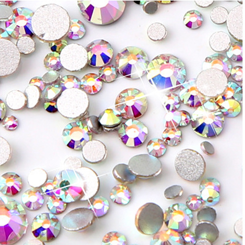 ch Mix Sizes 1000PCS Pack Crystal Clear AB Non Hotfix Flatback Rhinestones  For Nails 35d94b21f363