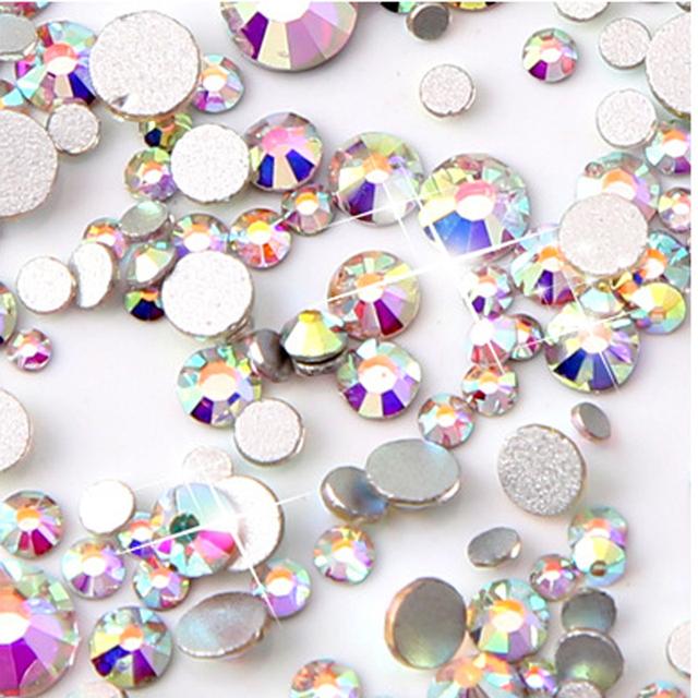 Mix Sizes 1000PCS/Pack Crystal Clear AB Non Hotfix Flatback Rhinestones Nail Rhinestones For Nails 3D Nail Art Decoration Gems