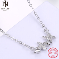 INALIS 925 Sterling Silver Necklace Ladies Fashion Butterfly Pendant Necklace For Women Girl Female Jewelry Wedding