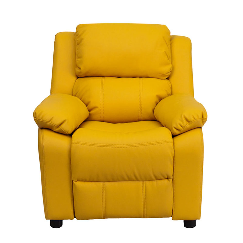 Flash Furniture Deluxe Heavily Padded Contemporary Yellow Vinyl Kids Recliner with Storage Arms [863-BT-7985-KID-YEL-GG] элтон джон elton john goodbye yellow brick road deluxe edition 2 cd