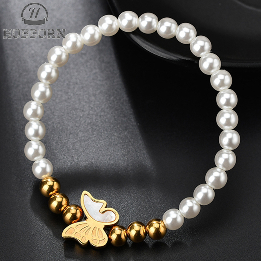 HOBBORN Fashion Stainless Steel Beads Jewelry Butterfly Shell Simulated Pearl Beaded Bracelets Women Insect Charm Bracelet Gifts