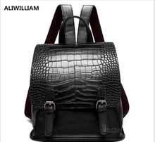 New Crocodile Pattern Cover Head Mini Shoulder Bag hit Color Street Fashion Small Backpack Retro Bag Travel Package Female hot