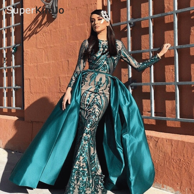 a61931fc9ef9c US $200.88 19% OFF|SuperKimJo Robe De Soiree Detachable Skirt Evening  Dresses Long Sleeve Green Formal Dress Women Elegant Evening Gown-in  Evening ...
