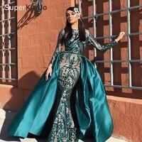 SuperKimJo Robe De Soiree Detachable Skirt Evening Dresses Long Sleeve Green Formal Dress Women Elegant Evening Gown