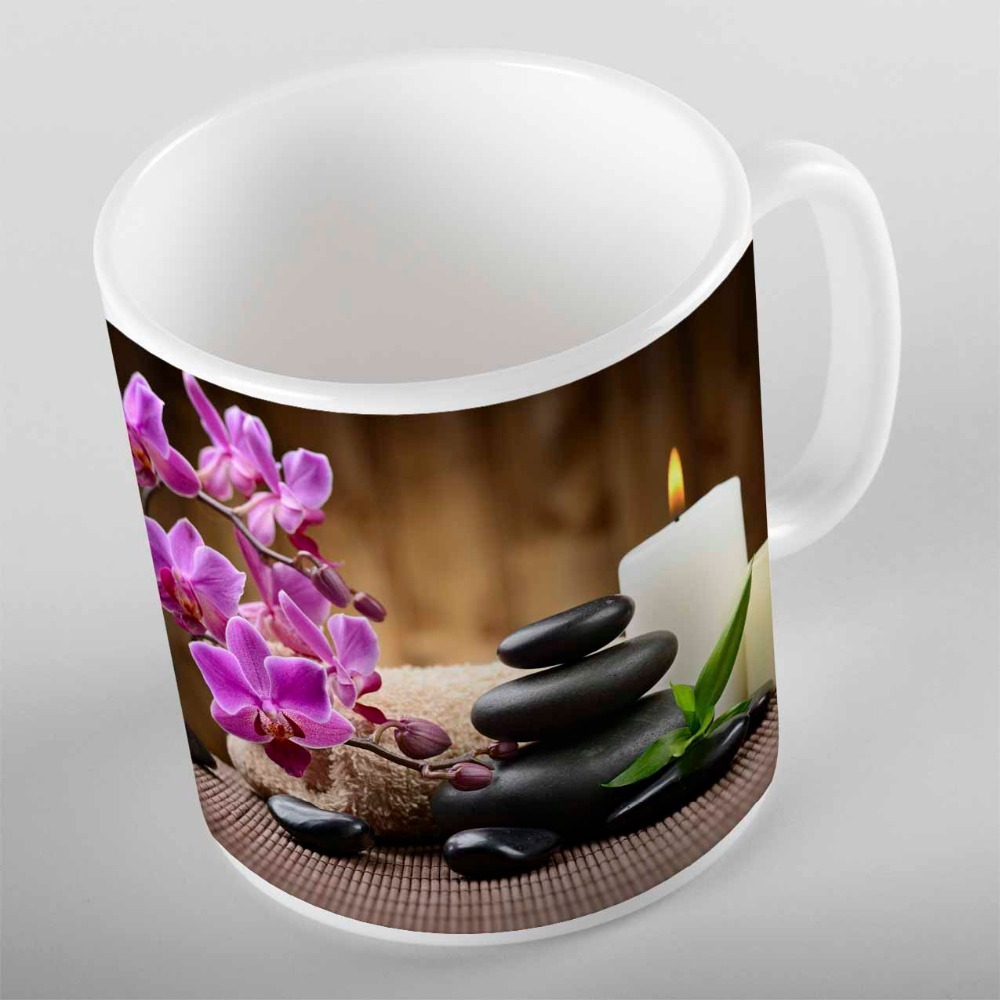 Else Purple Flower Orchid Black Spa Stone Candle Green Leaf 3d Print Gift Ceramic Drinking Water Tea Bear Coffee Cup Mug Kitchen