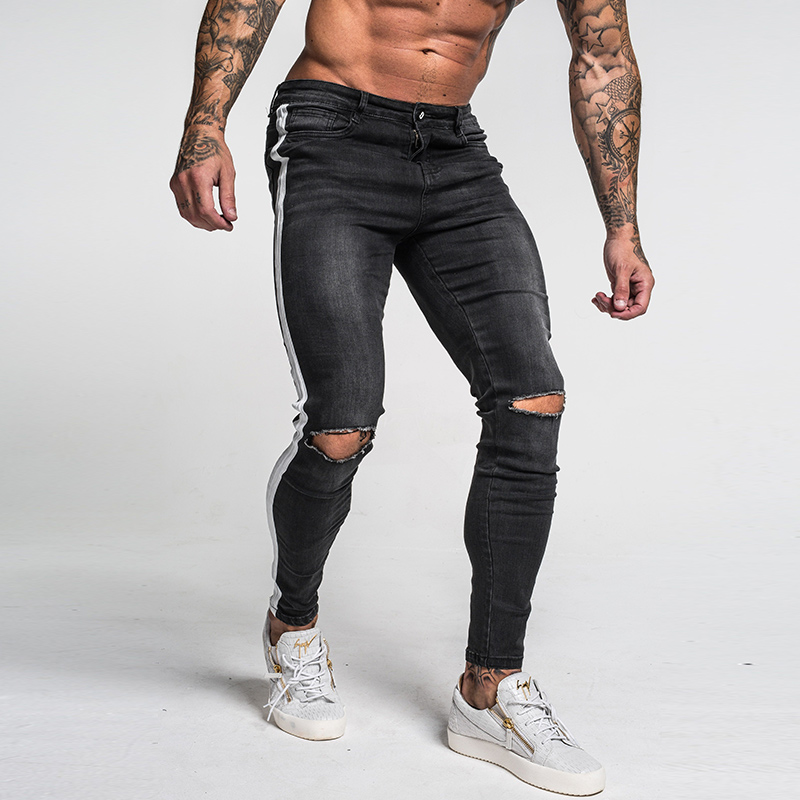 Gingtto Skinny Jeans For Men Tape Side Distressed Jeans For Men Faded Black Big Size Super Spray on Dropshipping Supply zm42