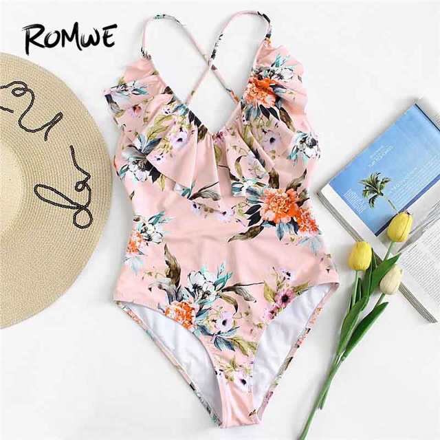 c261f0598e01a Romwe Sport Pink Floral Ruffle Backless Swimwear Women 2018 Sexy One Piece  Swimsuit Monokini Bodysuit Bathing Beach Bikinis