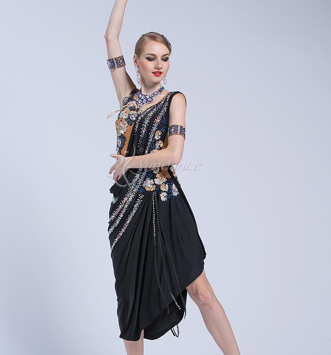 Tassel Latin Dance Dress Clothing Girls Salsa Costume Ballroom Competition Skirt L 1776