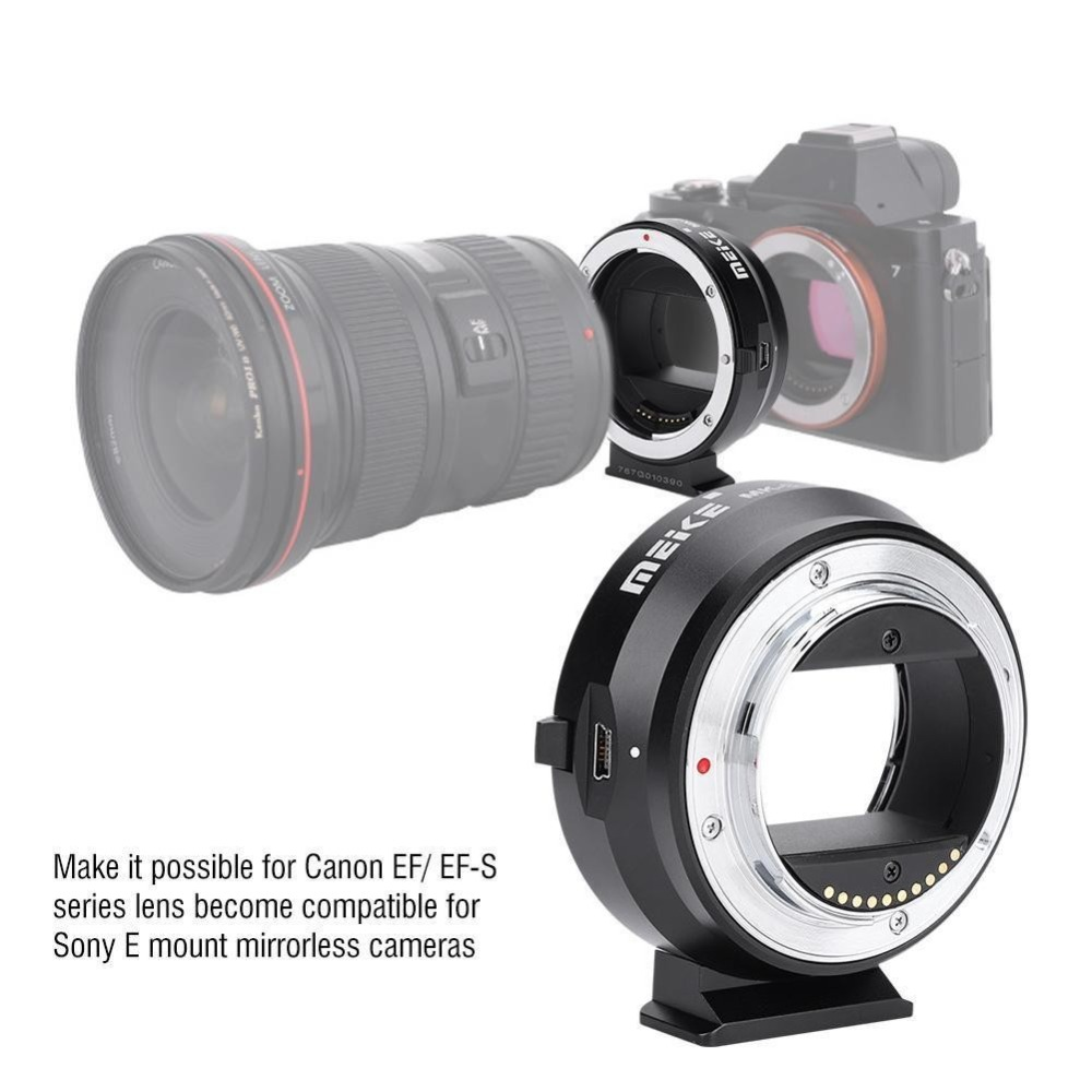 MEIKE EF-NEX Auto Focus Electronic Adapter For Canon EF EFS Lens To Sony Full Frame E Mount A9 A7M3 A7R3 A7R2 A6500 A6400 A6300