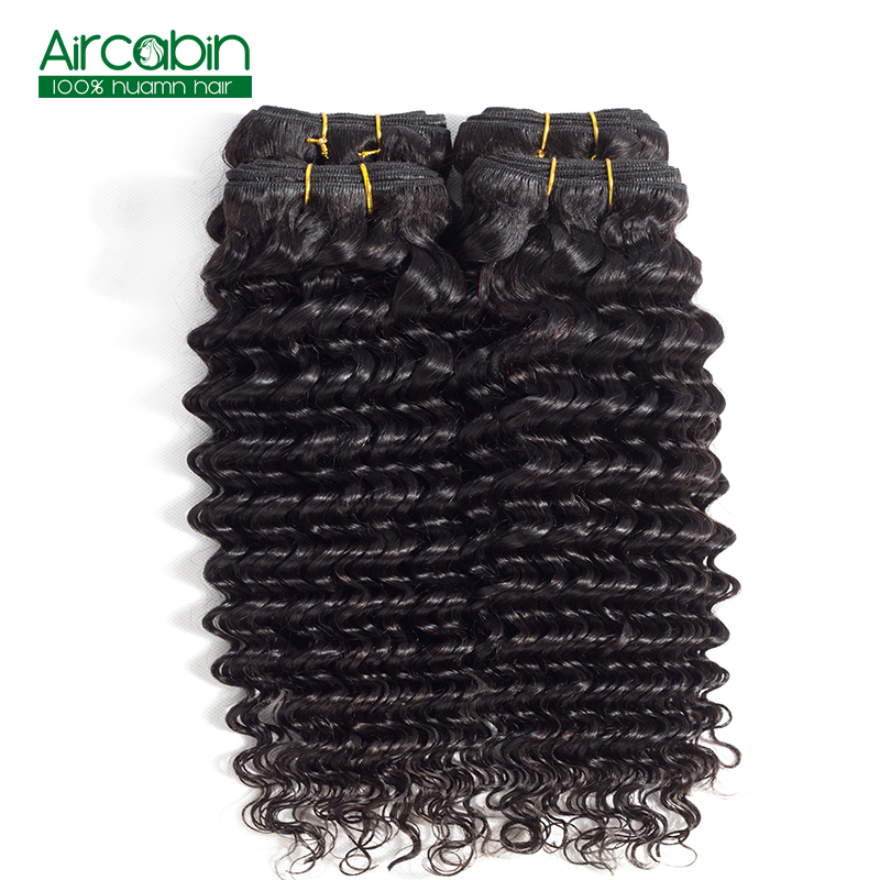 Deep Wave Hair Bundles Peruvian Human Hair 4 Bundles AirCabin Remy Extenions Natural Bla ...