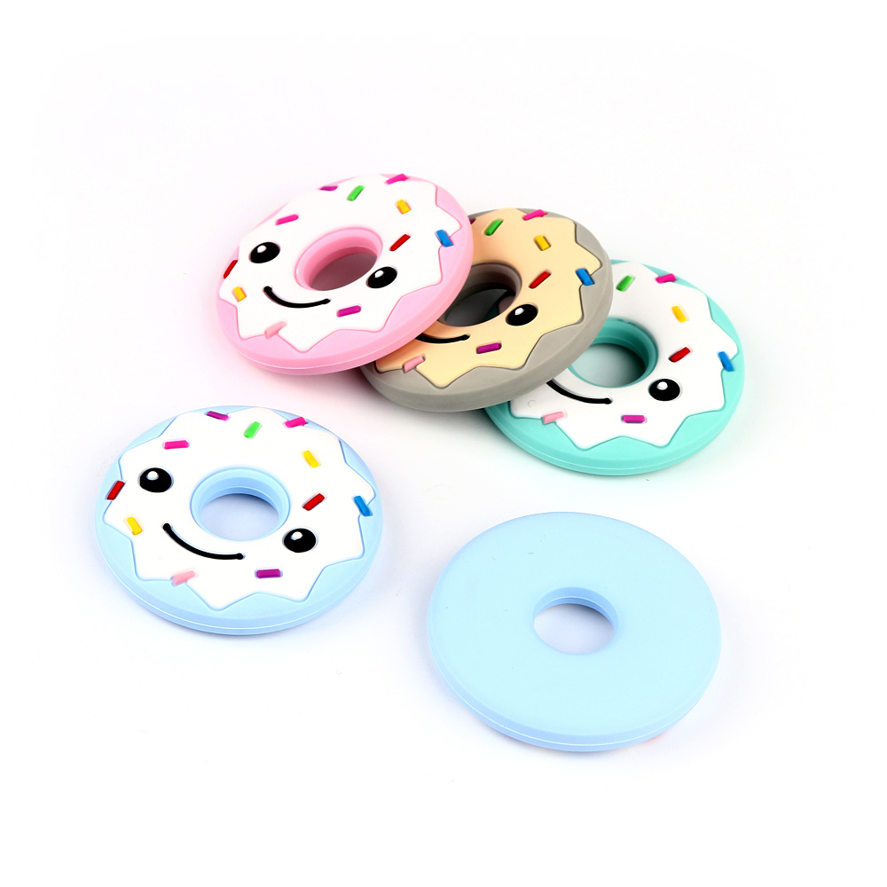 MCGMITT Food Grade Silicone 1Pc Smiling Face Donut Shape Baby Teethers BPA Free Infants Nursing Teethers Baby Dental Care Gifts