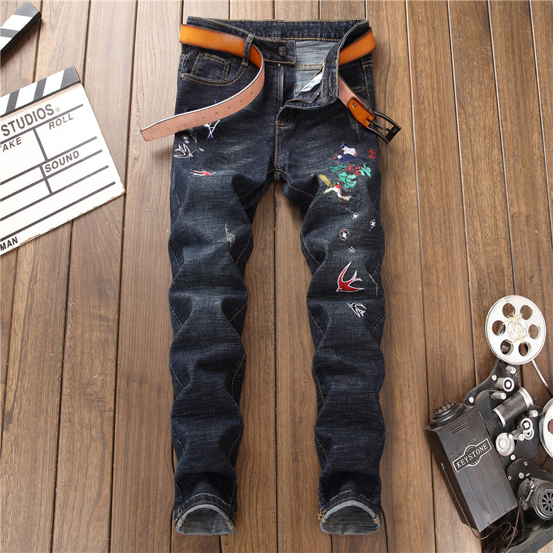 2018 New Man Animal Embroidery Jeans Black Slim Long Denim Trousers